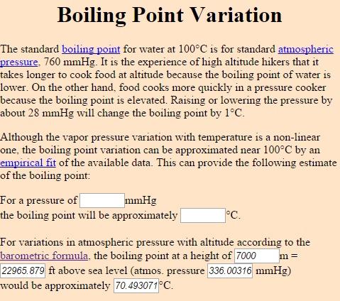 Punto de ebullición del agua a 7000m de altitud